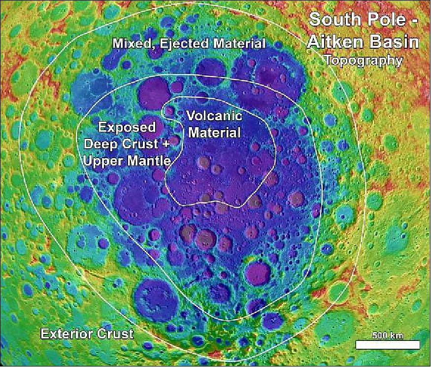 Image result for The Chang'e 4 spacecraft is predicted to land somewhere in the South Pole-Aiken basin (shown in purple).